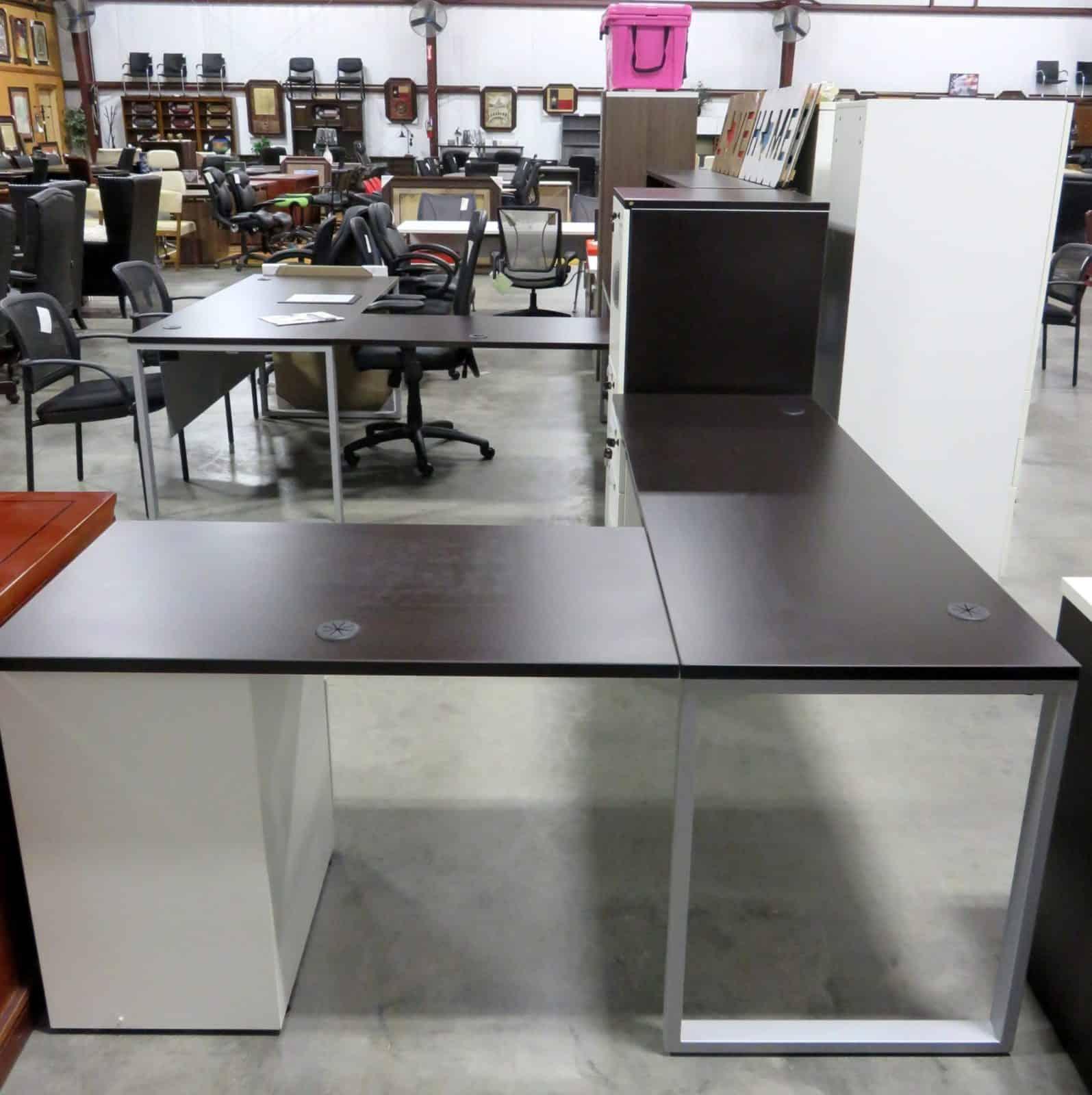 Lair Modular Dark Walnut L Desk with File