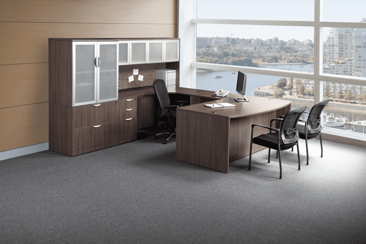 Image of: U Shaped Desk With Hutch And Storage Cabinet Office Barn