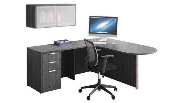 71 X 77 L Shaped Desk With Wall Mount Hutch Office Barn